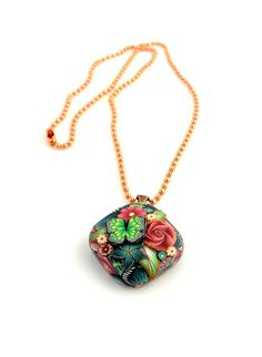 Butterfly Garden Pendant Necklace Polymer Clay by ramonahall, $25.00
