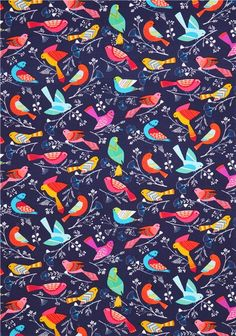 navy blue Flock Michael Miller butterfly animal fabric 3