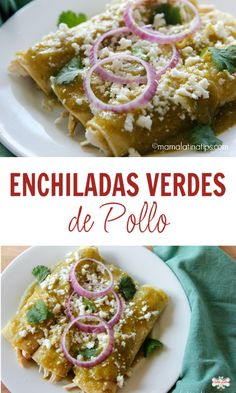 A winning combination: these green chicken enchiladas are soaked in delicious green sauce, stuffed with chicken and served with fresh cream cheese. Easy and fast to do. Enchiladas Vegetarianas, Green Chicken Enchiladas, Enchiladas Potosinas, Easy Chicken Dinner Recipes, Lunch Recipes, Cooking Recipes, Mexican Cooking, Mexican Food Recipes, Empanadas