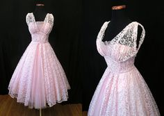 Dreamy 1950's Pale Pink Lace and Tulle Party Prom by wearitagain
