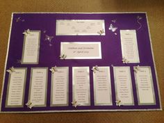 A1 table plan with silver and butterfly details