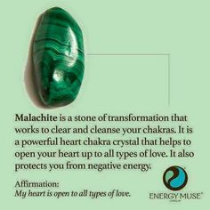 Malachite is a stone of transformation that works to clear and cleanse your chakras. It is a powerful heart chakra crystal that helps to open your heart to all types of love. It also protects you from negative energy. should learn to like this stone. Chakra Crystals, Crystals And Gemstones, Stones And Crystals, Gem Stones, Chakra Stones, Crystal Healing Stones, Crystal Magic, Chakras, Crystal Meanings