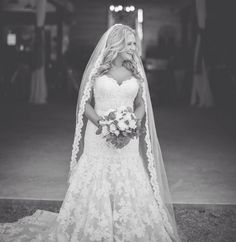 This beaded lace wedding veil only $58 from BlancaVeils.com