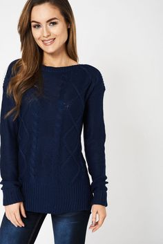 New Ex Next Blue Black Knitted High Neck Roll Neck Long Sleeve Jumper Size  8-16