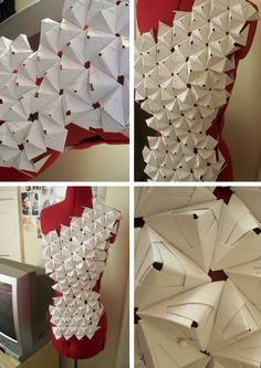 I really like origami and paper manipulation and I find it's a really fast way to mock up so designs. There are pictures of the originals, made from white paper and quick mock ups where iR… Paper Fashion, Origami Fashion, Dress Fashion, Fashion Art, Moda Origami, Origami Art, 3d Paper, Paper Crafts, Textile Manipulation