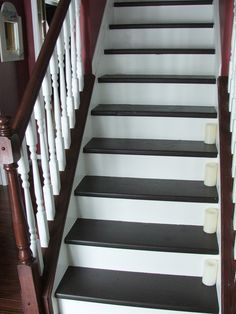 Under $100 Carpeted Stair To Wooden Tread Makeover DIY Contributed By  Cleverly Inspired This Post Contains