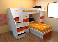 DORMITORIO INFANTIL PEQUEÑO COMPARTIDO via www.dormitoriosnenes.blogspot.com