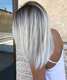 Check out latest article Icy Blonde Hair with Dark Roots Colour Ideas. Explore icy blonde hair balayage dark roots, icy blonde hair dark roots shoulder length, icy blonde hair highlights low lights, i White Blonde Hair, Light Ash Blonde, Blonde Color, Ombré Blond, White Ombre Hair, Ombre Colour, Dark Blonde, Ombre Silver Hair, Brown And Silver Hair