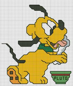 SCHEMA BABY PLUTO Baby Mickey Mouse, Mickey Mouse And Friends, Baby Disney, Disney Mickey, Cross Stitch Charts, Cross Stitch Patterns, Animated Disney Characters, Dog Crafts, Cross Stitching