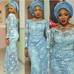 Lovely.💙 #ASfabguest @wumeah glammed by @beautywise_bola.💄 @asoebicrush.  #africansweetheartweddings #asoebi #nigerianwedding #weddingguest