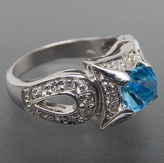 14k White Gold Blue Topaz & 0.65 Ctw Diamonds Fancy Set Cocktail Ring – Gold Stream Boutique