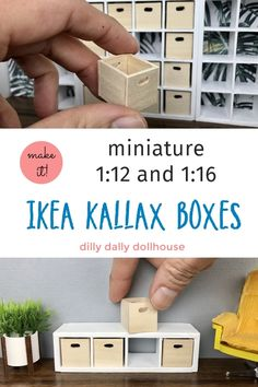 DIY wooden boxes for miniature IKEA Kallax - and scales Modern Dollhouse Furniture, Barbie Furniture, Miniature Furniture, Miniature Crafts, Miniature Dolls, Wooden Boxes, Wooden Diy, Diy Doll Miniatures, Doll House Crafts
