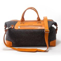 Jump-start your weekend getaway plans with a handsome travel bag in wool and leather. #etsy