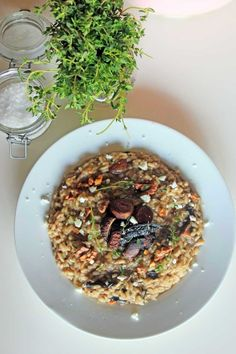 Roasted mushroom risotto with goat cheese and toasted walnuts. Best!