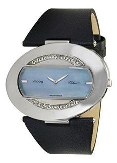 Moog Paris-Smile Damen-Armbanduhr Zifferblatt blau Armband Schwarz Leder Rindleder, hergestellt in Frankreich-m45252-003 - http://uhr.haus/moog-paris/moog-paris-smile-damen-armbanduhr-zifferblatt-in-2