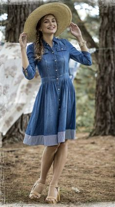 Next time I find a shirt denim dress, I am going to add a piece on the bottom like this one. Looks so cute!!!