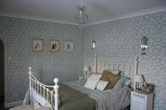 Laura Ashley Lilac wallpaper in Eau de Nil beautiful i have this in my kitchen but its lovely here