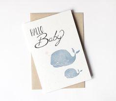 Baby- & Geburtskarten - Hallo Baby - Klappkarte - ein Designerstück von lumilarie bei DaWanda