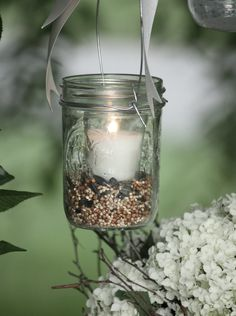 #mason jars #lantern #candle #sand