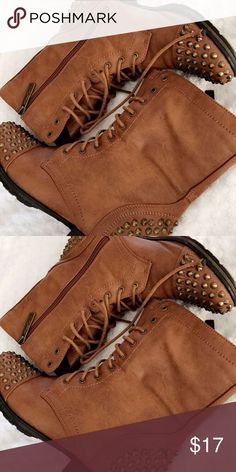 8 1/2 brown spike boots Lightly worn, great for many occasions! Breckelles Shoes Lace Up Boots