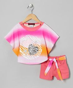 Take a look at this Pink & Orange Heart Layered Top Set - Infant & Toddler by Dollhouse on #zulily today!