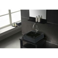 Vitreous China Black Lavatory Sink | Overstock.com