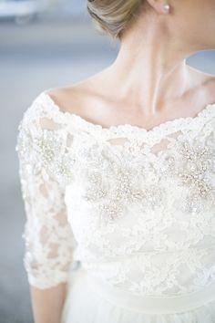 conservative yet elegant wedding gown  more inspiration at http://www.ModernRani.com