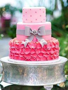 Round Wedding Cakes - * Pink Ombre Ruffle Wedding Cake