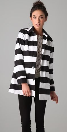 alice + olivia Constance Striped Coat