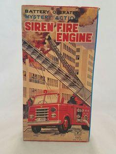VINTAGE NIB YANOMAN TOYS JAPAN TIN FIRE TRUCK ENGINE SIREN 5850 NEW W/ BOX   eBay
