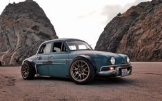 """""""La Brute"""" - 1960 Renault Dauphine custom outlaw by Justin Cashmore powered by a mid mount Volkswagen MK4 Golf GTI VR6 2.8 lt. engine, 24-valve, 6-speed, 200 bhp @6,200 rpm, 195 Lb-Ft @3,200 rpm Dauphine_VW_V6_002 Gti Vr6, Honda Cbx, Car Activities, Custom Cafe Racer, Motor Scooters, Black Wheels, Top Cars, Custom Cars, Dream Cars"""