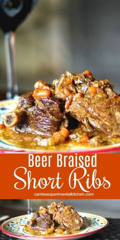 Beer Braised Short Ribs slowly braised in beer, mustard, garlic and vegetables until they're 'fall off the bone' tender. #beef Rib Recipes, Fall Recipes, Great Recipes, Dinner Recipes, Favorite Recipes, Amazing Recipes, Savoury Recipes, Chili Recipes, Thanksgiving Recipes
