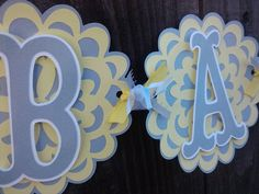 Owl Baby Shower Banner, gender neutral, yellow and gray | Baby ...
