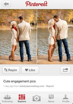 Cute engagement pictures :)I like this for someone whose married, smooches...not appropriate.