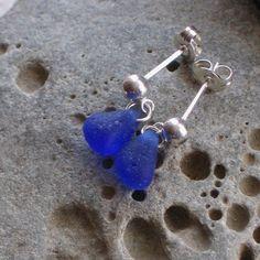 Cobalt Blue Sea Glass Sterling Silver Studs Post Earrings (627)