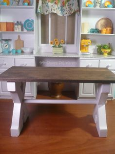 Inside The Barbie Craft Room: Barbie Craft Project: Farmhouse Table with two letter X's, dowel and wood top. Can use for 1/12 scale, just find smaller letters.