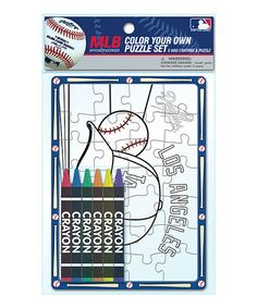 Look what I found on #zulily! Los Angeles Dodgers Color Your Own Puzzle Set #zulilyfinds