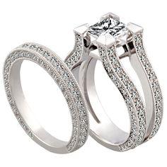 Split-Shank Diamond Bridal Set by http://www.engagediamonds.com/