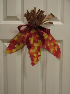 This would be really cute to do with the crumpled up tissue paper like Link and I did for our Halloween pumpkin.