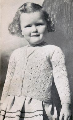 Vintage Girl's Cardigan Knitting Pattern PDF / by CreeksideCharms, $3.00