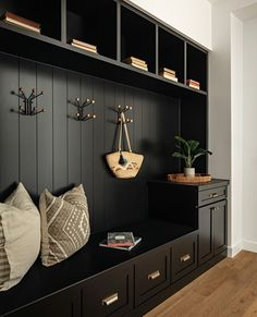Looking back at and loving this mudroom we did! Black on black with hints of brass one of my favorite combos. Mudroom Laundry Room, Regal Design, Drop Zone, Deco Design, Entryway Decor, Home Interior Design, Sweet Home, House Design, House Styles