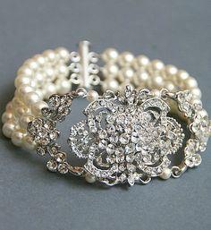 Vintage Jewelry Pearls | Bridal Vintage pearl bracelet, Swarovski ivory pearls, rhinestone ...