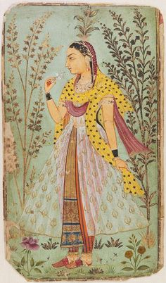 Portrait of a Lady with Flowers. India, Rajasthan, Sawar ca. 1775 . gouache and gold on paper: