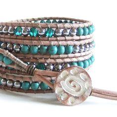 Turquoise Gemstone Beaded Leather Wrap Bracelet Handmade 5 Wraps | CrystalBazaar - Jewelry on ArtFire