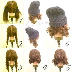 女の子っぽい三つ編みシニヨンに、カジュアルアイテムの代名詞、ニットキャップを合わせるとご覧のとおりの愛らしさ。