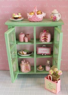 Miniature Shabby Chic Cabinet Filled With Pink Sweets That I Sell On Etsy