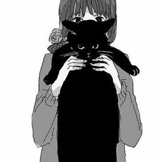 Anime girl, Holding cat. Kawaii.