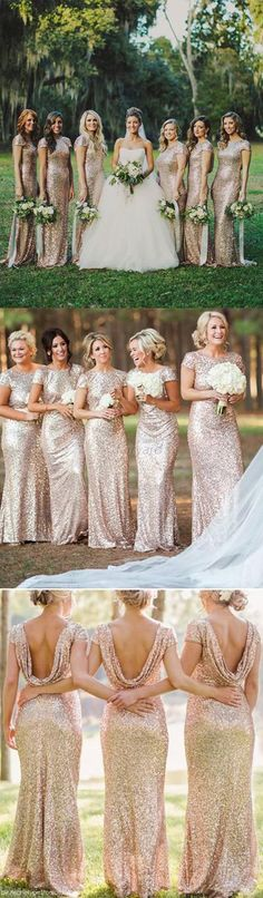 Bridesmaid Dress,Wedding Party Dresses,Bridesmaid Gowns,Gold Sequin Sparkly Mermaid Long Rose Bridesmaid Dress,Maid of honor Dresses, BD34