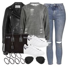 """Style #9889"" by vany-alvarado ❤ liked on Polyvore featuring Acne Studios, Topshop, Cheap Monday, Yves Saint Laurent, adidas, Ray-Ban and Pieces"
