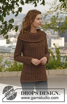 "Knitted DROPS jumper with cables, raglan dec and large neck in ""Nepal"". Size: XS - XXXL. ~ DROPS Design"